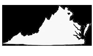 gray virginia map with black heart at washington northern virginia location