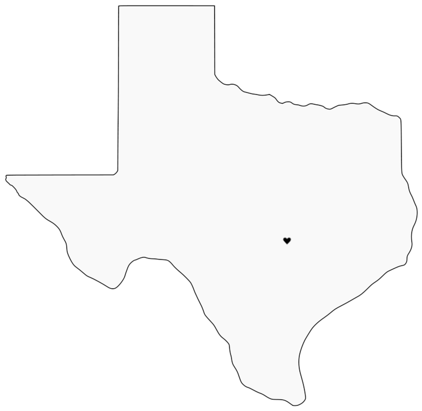 png map of texas with black heart located to depict austin location
